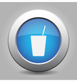 blue metal button with drink vector image vector image