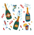 bottles champagne and glasses isolated vector image