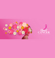 breast cancer awareness papercut woman flower head vector image vector image