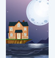 brick house by the ocean vector image vector image