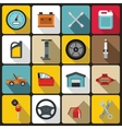 Car maintenance and repair icons set flat style vector image vector image