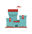 cartoon blue castle with red heraldic flags on vector image