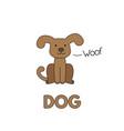 cartoon dog flashcard for children vector image vector image
