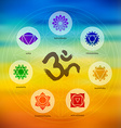 Chakra icon set on colorful blur background vector image vector image