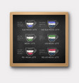 chalkboard with iced and hot matcha recipes vector image