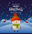 cute cartoon snowman character merry christmas vector image vector image