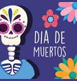 day dead skeleton flowers ornament vector image