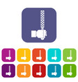 file tool in man head icons set flat vector image vector image