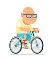fitness cycling grandfather adult healthy vector image