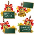 Funny school bell with blackboard vector image vector image