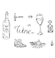 Hand drawn sketch wine set vector image vector image