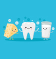 happy healthy tooth and high calcium products vector image vector image