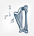 harp sketch isolated design element vector image vector image