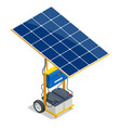 isometric solar panel and green energy battery vector image vector image
