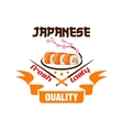 Japanese restaurant icon Sushi chposticks vector image