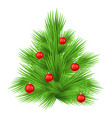 lush fir tree decorated with red toy balls vector image