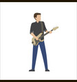 man plays in musical group on bass guitar vector image