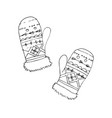 mittens on white liner vector image vector image