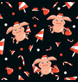 new year pattern with piglets sweet seamless on vector image