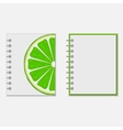 Notebook cover design with bright lime vector image