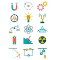 physics icons set vector image vector image