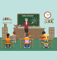 physics lesson with kids in classroom vector image vector image