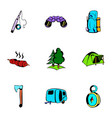 Picnic icons set cartoon style