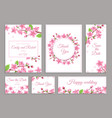 sakura cards cherry blossom wedding invitation vector image vector image