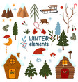 set isolated winter elements vector image vector image