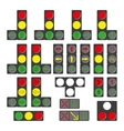 Set of different traffic lights isolated on white vector image vector image
