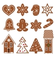 Set of gingerbread figures vector image vector image