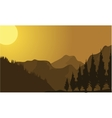 Silhouette of mountain at sunrise vector image vector image
