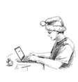 sketch man in christmas hat working with vector image vector image