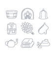 spa sauna linear icons fireplace mitt herbal vector image