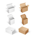 square shaped carton boxes for products keeping vector image vector image
