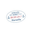 stamp arrival to marseille airport isolated vector image vector image