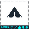 tent icon flat vector image vector image