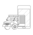truck with cellphone in black and white vector image vector image