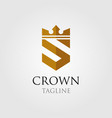 vintage crown logo and letter s symbol vector image vector image