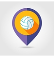Volleyball flat mapping pin icon with long shadow vector image vector image