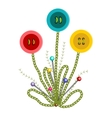 Colorful Embroidered Buttons Flowers vector image