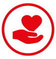 love heart offer hand rounded icon vector image