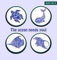 set of sea logos vector image