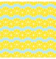 Lemon slices on blue background seamless pattern vector image