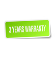 3 years warranty green square sticker on white vector image vector image