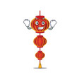 a cartoon lampion chinese lantern wearing vector image vector image