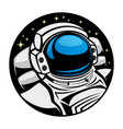 astronaut in space round sign vector image vector image