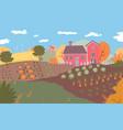 autumn farm landscape field crops nature vector image