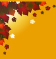 autumn square background with red leafs on yellow vector image vector image