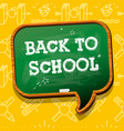 back to school banner with chalkboard speech vector image vector image